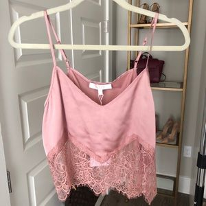 Lace pink crop cami by Wayf
